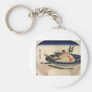 Bowl of Sushi, circa 1800's Japan. Basic Round Button Key Ring