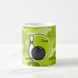 Bowling; bright green camo, camouflage coffee mugs
