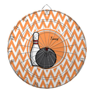 Bowling; Orange and White Chevron Dartboards