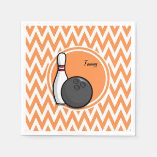 Bowling; Orange and White Chevron Disposable Napkin