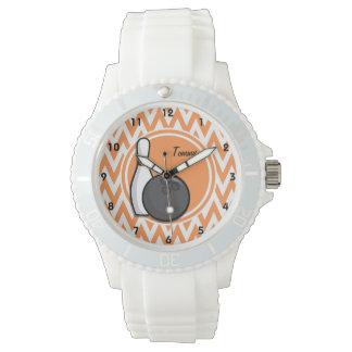 Bowling; Orange and White Chevron Wrist Watch