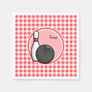 Bowling; Red and White Gingham Disposable Serviettes