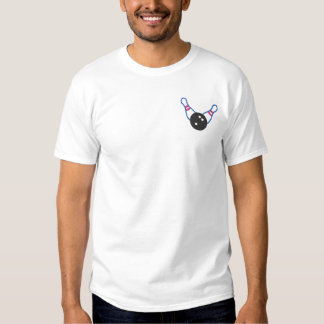 Bowling Ten Pin Outline Embroidered T-Shirt