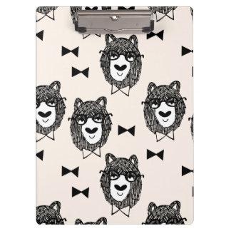 Bowtie Bear - Cream Black White / Andrea Lauren Clipboards