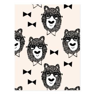 Bowtie Bear - Cream Black White / Andrea Lauren Postcard