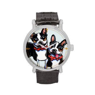 Bowtie Boston Terriers Custom Wristwatch