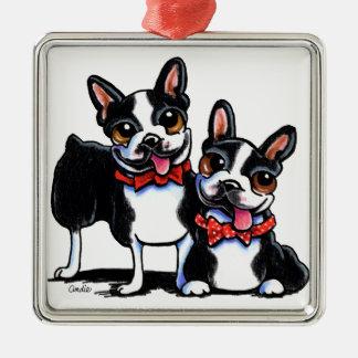 Bowtie Boston Terriers Off-Leash Art™ Silver-Colored Square Decoration