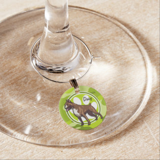 Boxer; bright green camo, camouflage wine glass charm