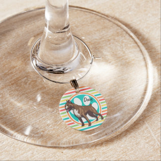 Boxer; Bright Rainbow Stripes Wine Charms