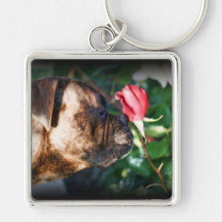 Boxer dog and rose keychain