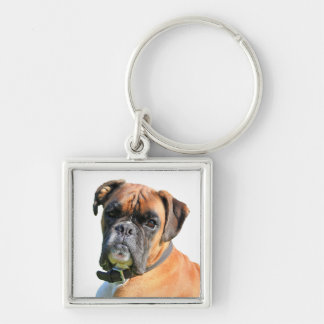 Boxer dog beautiful photo portrait Silver-Colored square key ring