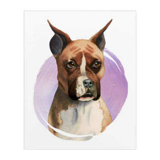 Boxer Dog Watercolor Painting Acrylic Wall Art