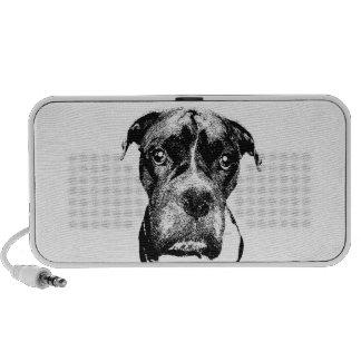 Boxer hund svartvit skrivbordshögtalare