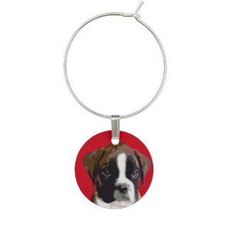 Boxer puppy dog wine charm