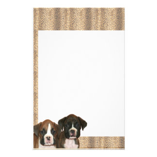 Boxer puppy leopard print stationary stationery