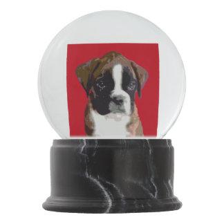 Boxer puppy snow globes