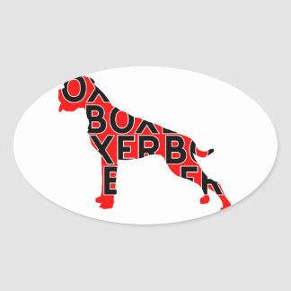 Boxer Text Hund Dog Oval Sticker