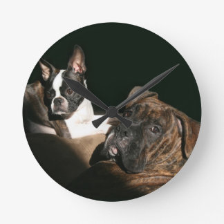 Boxers and Bostons: Awesome Twosome 2 Round Clock