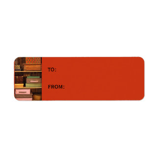 Boxes orange small Gift Tag Return Address Label