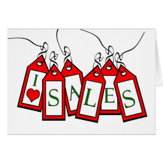 Boxing Day, I Heart Sales, Red Sale Tags Greeting Card