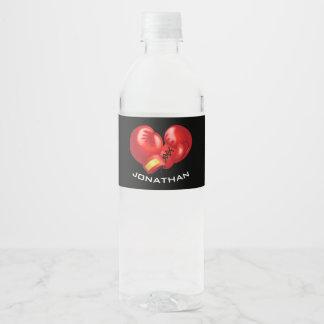 Boxing Gloves Design Water Bottle Label