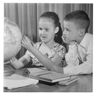 Boy and Girl Viewing Globe Tile