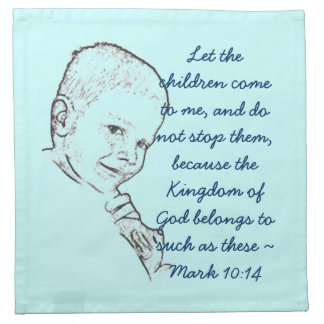 Boy and Teddy (Mark 10:14) Napkin