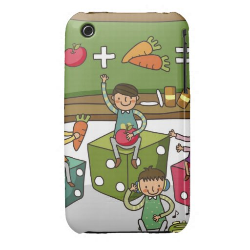 Boy and two girls sitting on dice with another iPhone 3 Case-Mate cases