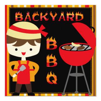 Boy Backyard BBQ Birthday Party Invitations