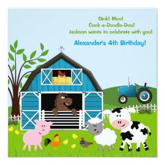 "Boy Barnyard Farm Animals Birthday Invitations 5.25"" Square Invitation Card"