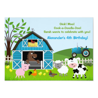 "Boy Barnyard Farm Animals Birthday Invitations 5"" X 7"" Invitation Card"
