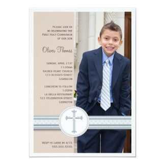 Boy Blue | Beige Photo Communion Invitation