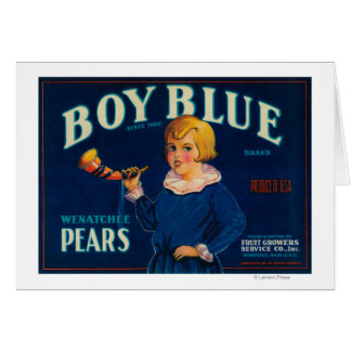 Boy Blue Pear Crate Label Greeting Cards
