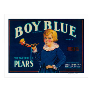 Boy Blue Pear Crate Label Post Card