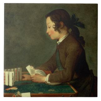 Boy Building a Castle of Cards (oil on canvas) Tile