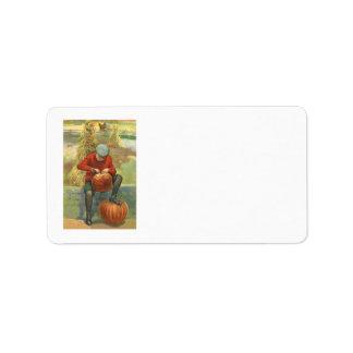 Boy Carving Jack O Lantern Pumpkin Address Label