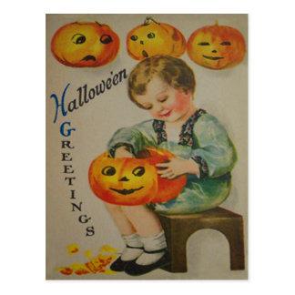 Boy Carving Pumpkin Jack O Lantern Postcard