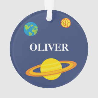 Boy Christmas Ornament Space Planets