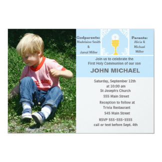 Boy Communion Invitation Blue Photo Card