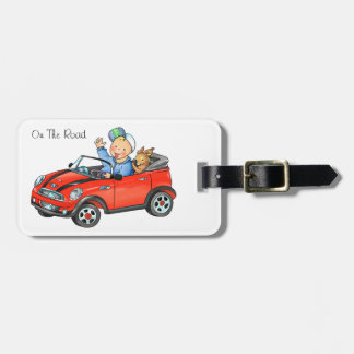 Boy Driving Red Toy Car Luggage Tag