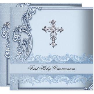Boy First Holy Communion Blue Confirmation 2 Card