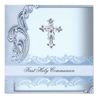Boy First Holy Communion Blue Confirmation 2 Card