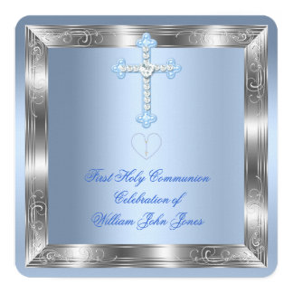 Boy First Holy Communion Silver Blue 2a Card