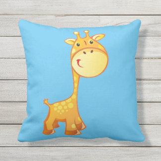 Boy Giraffe Outdoor Cushion