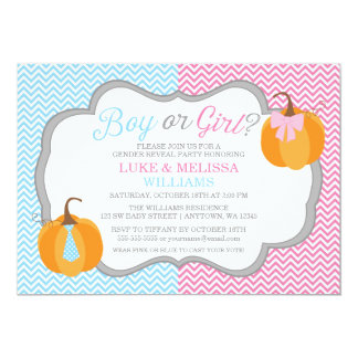 Boy Girl Pumpkins Chevron Fall Gender Reveal Party 13 Cm X 18 Cm Invitation Card