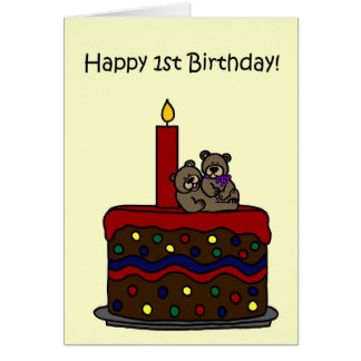 boy-girl twin bears on cake 1st birthday card