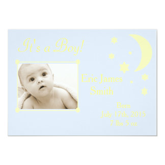 Boy or girl blue yellow baby announcements