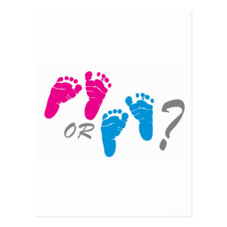 boy or girl? gender reveal party postcard
