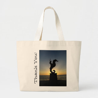 Boy Riding Seahorse; Thank You Large Tote Bag