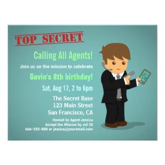 Boy Secret Agent Birthday Party Invite